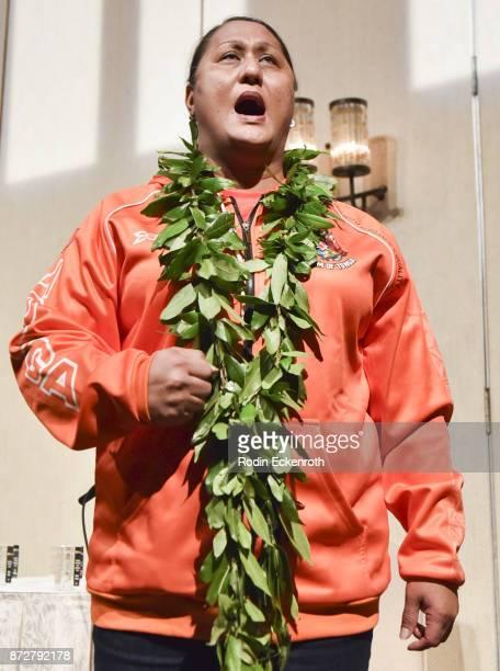 Kumu Hina performs onstage at the 37th Annual Hawaii International Film Festival Gala presented by Halekulani on November 10 2017 in Honolulu Hawaii