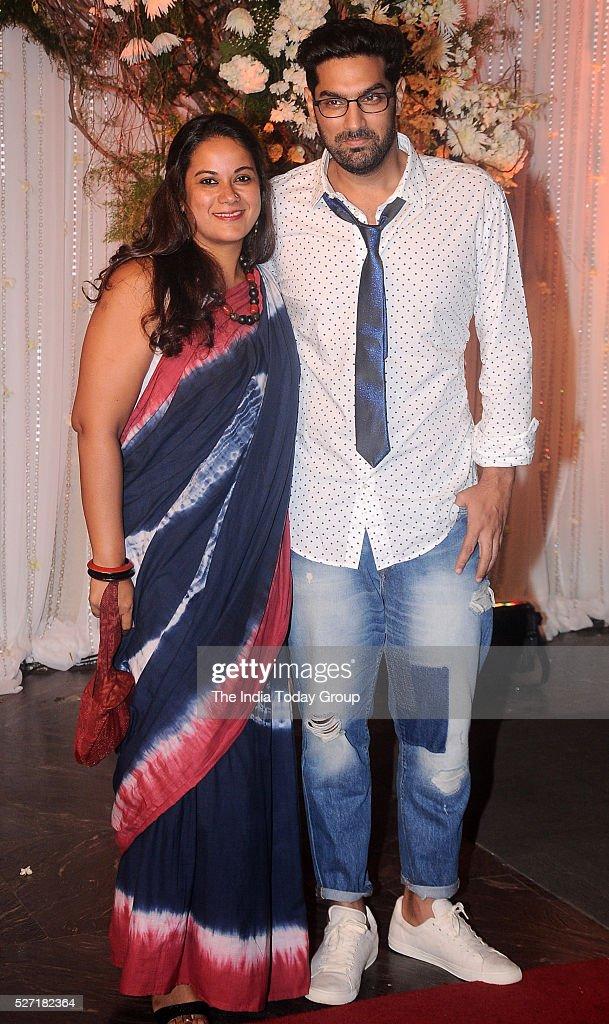 Kunaal Roy Kapur with his wife at Bipasha Basu and Karan Singh Grovers wedding reception ceremony at St Regis Hotel in Mumbai