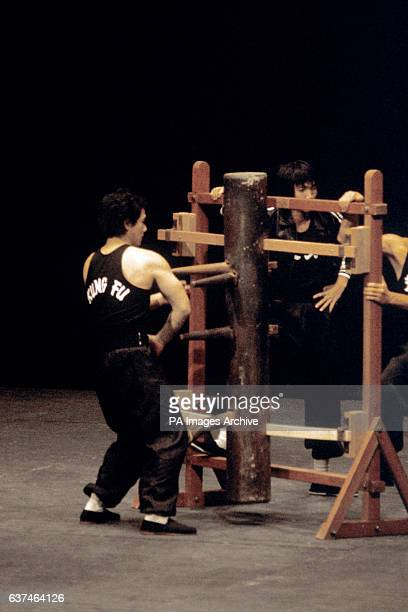 A kung fu expert shows his skills on a wooden dummy