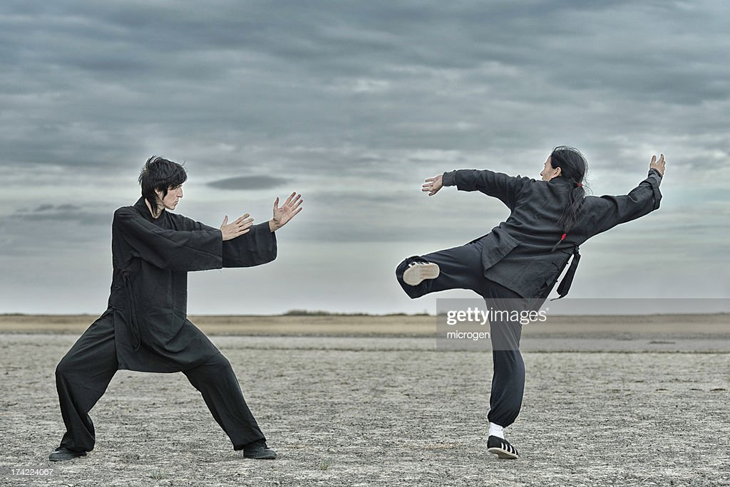Man Practising Shaolin Kung Fu Tiger Stance In Woolacombe