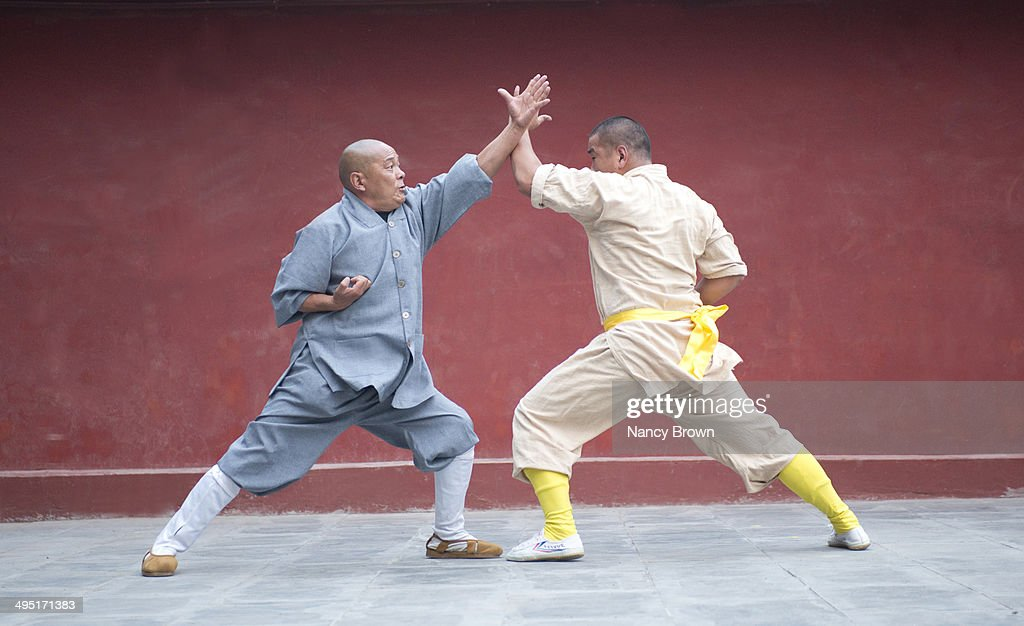 Two Kung Fu Experts On Song Mt Henan China High-Res Stock