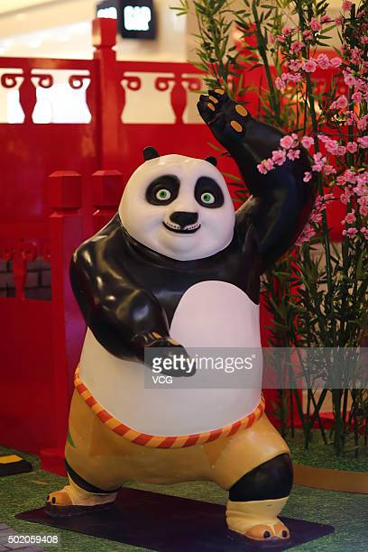 Kung Fu Panda 3 exhibition is held at a shopping mall on December 19 2015 in Kunming Yunnan Province of China Sculptures of cartoon roles and scenes...