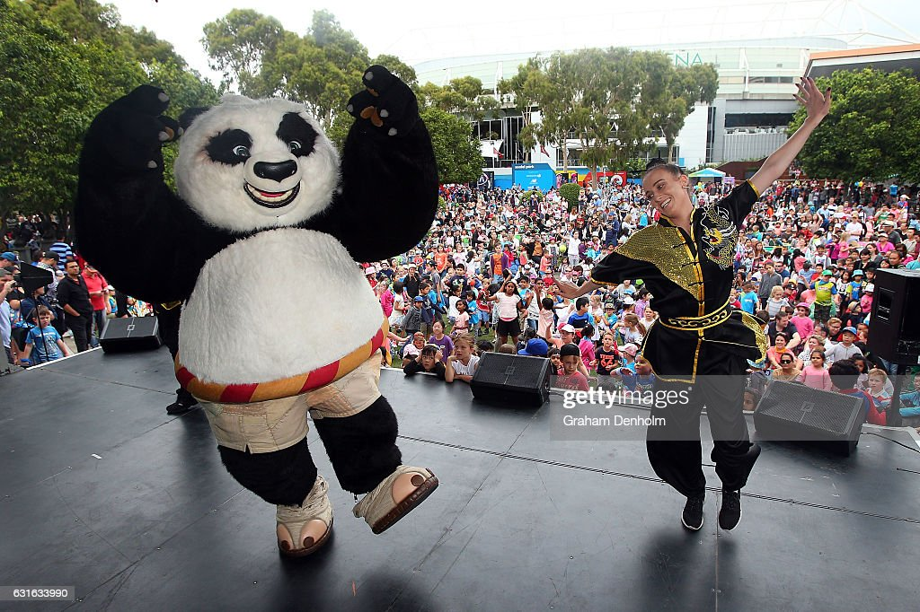 Kung Fu Panda performs on stage as part of Kids Tennis Day ahead of the 2017 Australian Open at Melbourne Park on January 14, 2017 in Melbourne, Australia.
