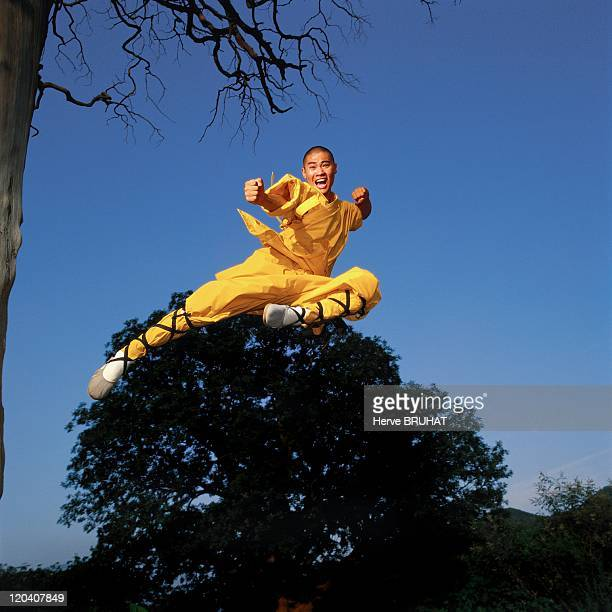 Kungfu and Buddhism at the Shaolin temple, China - Leap. After a few strides, the monk takes off from the tree trunk in order to be able to jump as...