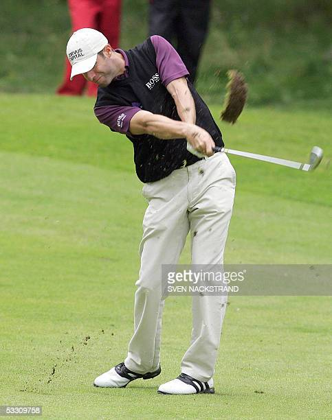 Welsh golfer Bradley Dredge plays his second shoot at the second par 4 hole during the last day of play at the PGA European Tour Scandinavian Masters...