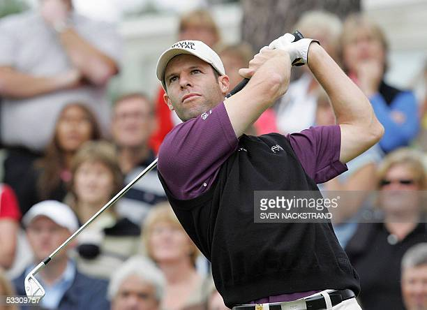 Welsh golfer Bradley Dredge tees off at the first par 4 hole during the last day of play at the PGA European Tour Scandinavian Masters in Kungsangen...