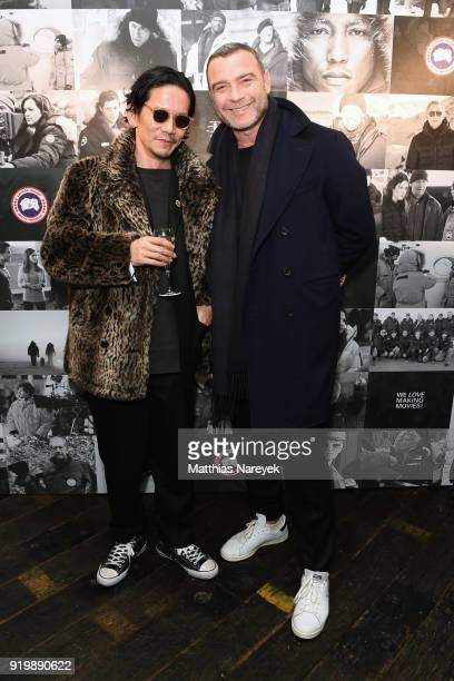 Kunichi Nomura and Liev Schreiber Cast of 'Isle of Dogs' attend the Studio Babelsberg Night X Canada Goose on the occasion of the 68th Berlinale...