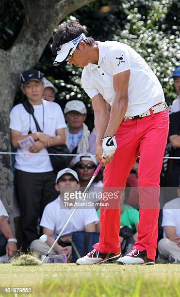Kunihiro Kamii of Japan hits a tee shot on 8th hole resulting in a holeinone during the third round of the Vana H Cup KBC Augusta at Keya Golf Club...