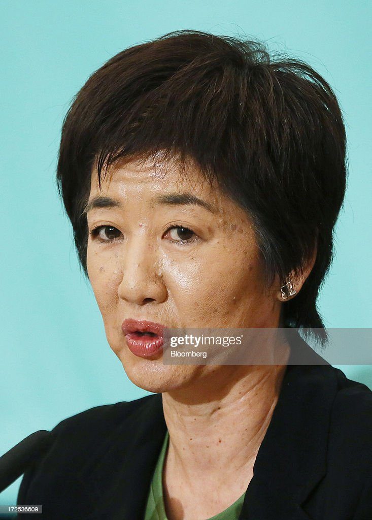 Kuniko Tanioka, president of the Green Wind party, speaks during a debate at the Japan National Press Club in Tokyo, Japan, on Wednesday, July 3, 2013. Japanese Prime Minister Shinzo Abe called for laws, not force-based order, in the Asia region during a televised debate with leaders of other political parties in Tokyo today ahead of the July 21 upper house election. Photographer: Haruyoshi Yamaguchi/Bloomberg via Getty Images