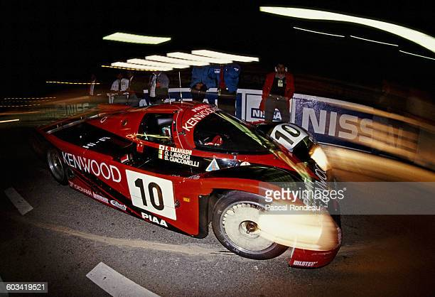 Kunimitsu Takahashi of Japan drives the Porsche Kremer Racing Kenwood Porsche 962CK6 out of the pits during the FIA World Sportscar Championship 24...