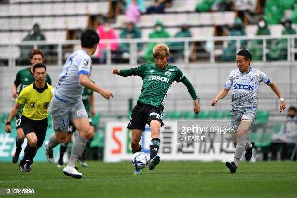 Kunitomo SUZUKI of Matsumoto Yamaga F.C. In action during the J.League Meiji Yasuda J2 match between Matsumoto Yamaga and Blaublitz Akita at Sunpro...