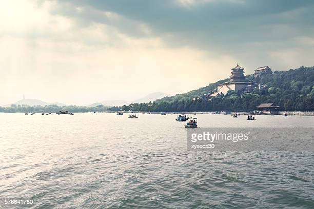 Kunming Lake With Summer Palace,sky is about to sunset.