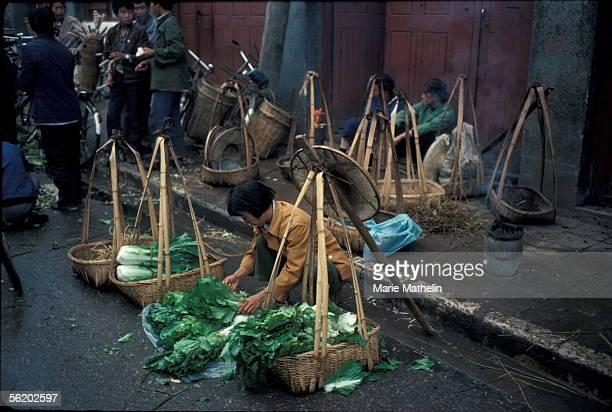 Kunming . Vegetables seller in the old city. 1983.
