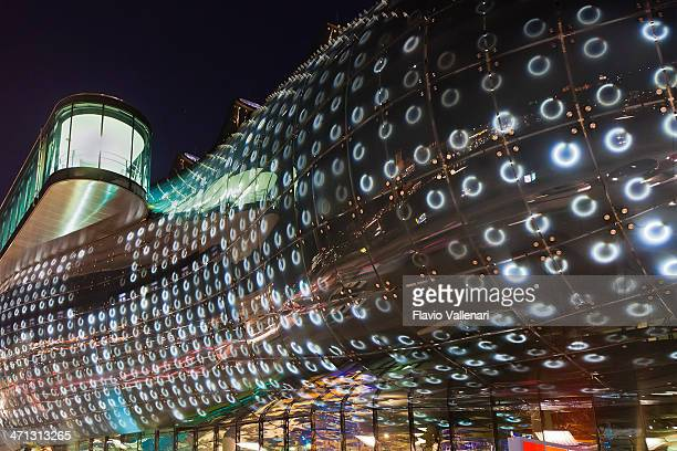 kunsthaus graz at night, austria - graz stock photos and pictures