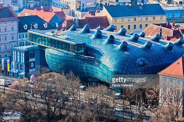 kunsthaus graz, austria - graz stock photos and pictures
