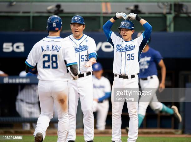 KuoHui Kao of Fubon Guardians hit a two run homerun at the bottom of the 4th inning during the CPBL game between Fubon Guardians and CTBC Brothers at...