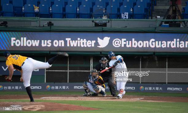 KuoLin Kao of Fubon Guardians hitting at the bottom of the 1st inning during the CPBL game between Fubon Guardians and CTBC Brothers at the Xinzhuang...