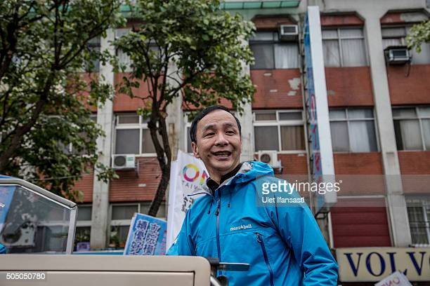Kuomintang Party presidential candidate Eric Chu, during rally campaign ahead of the Taiwanese presidential election on January 15, 2016 in Taipei,...