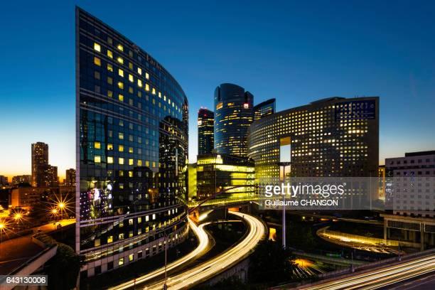 Kupka buildings at blue hour, Financial district of La Défense, Paris, France
