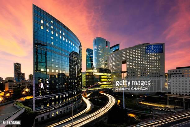 Kupka buildings at sunset, Financial district of La Défense, Paris, France