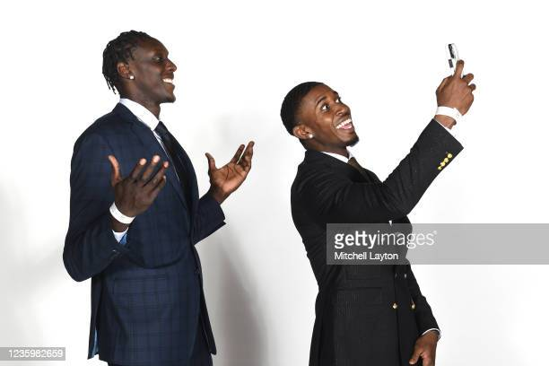 Kur Kuath and Darryl Morsell of the Marquette Golden Eagles pose for a photo during the Big East Media Day at Madison Square Garden on October 19,...