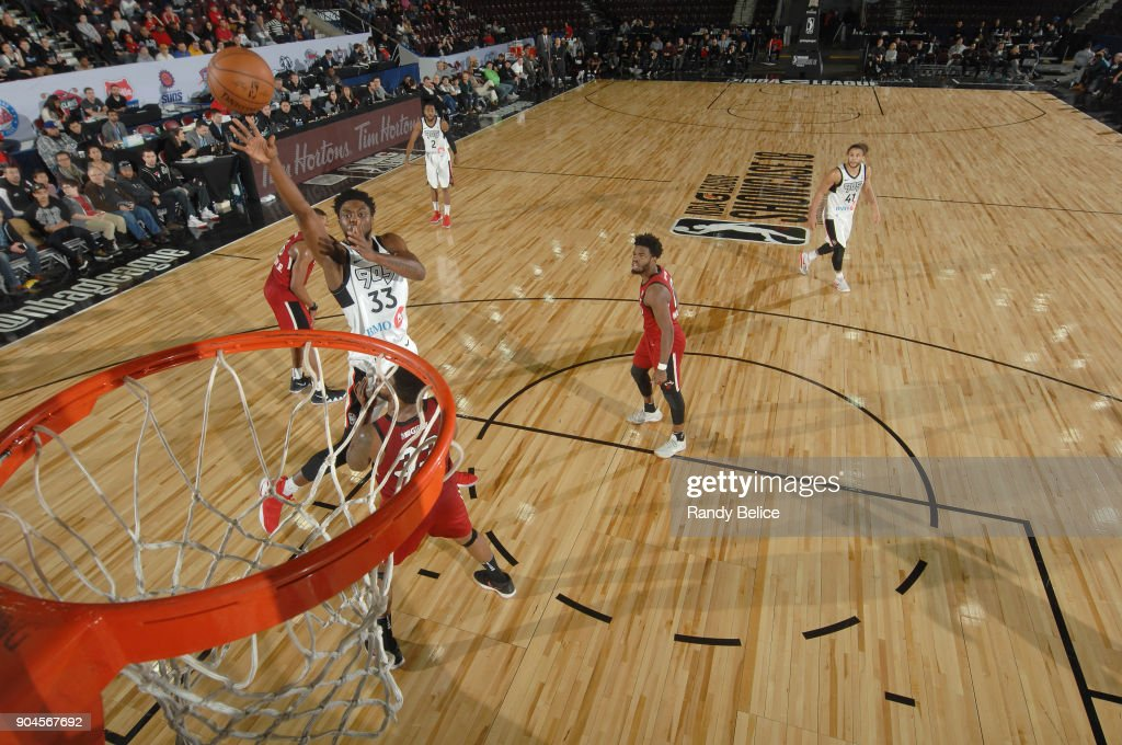 Kuran Iverson #33 of the Raptors 905 shoots the ball during the NBA G-League Showcase Game 22 between the Sioux Falls Skyforce and the Raptors 905 on January 13, 2018 at the Hershey Centre in Mississauga, Ontario Canada.