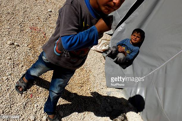 Kurd refugge boys in a refugge camp in the Turkish city of Suruc Sanliurfa province wich is located 6 kilometres far from the Syrian town of Kobani...