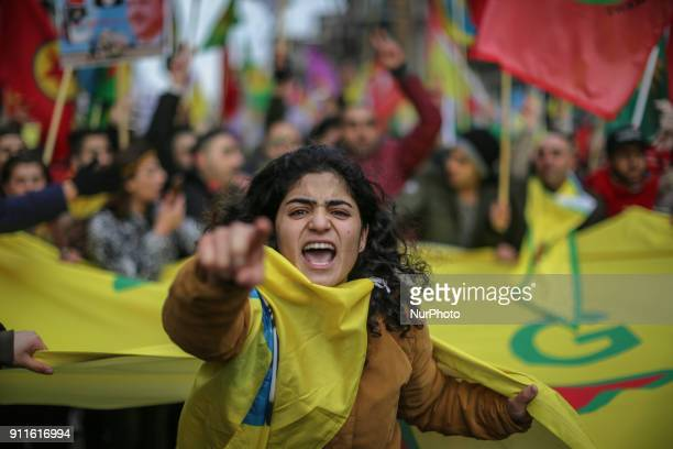 "Kurdish activists take parte during ""In Solidarity Afin"" demonstration against the ongoing Turkish military operation in the Syrian city of Afrin in..."