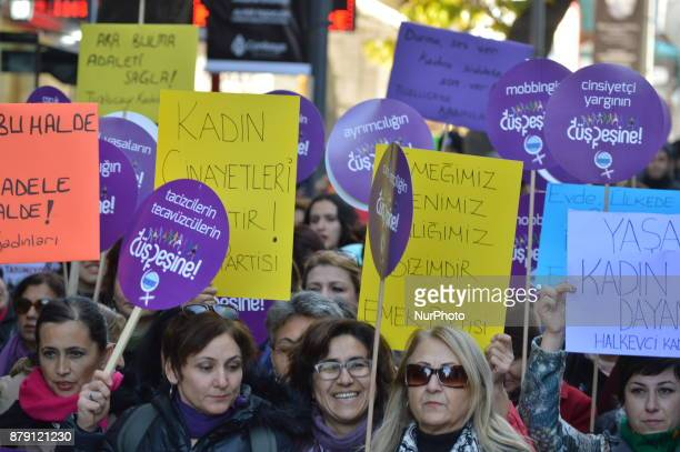 Kurdish and Turkish women take part in a protest to protect their rights and lives on the International Day for the Elimination of Violence against...