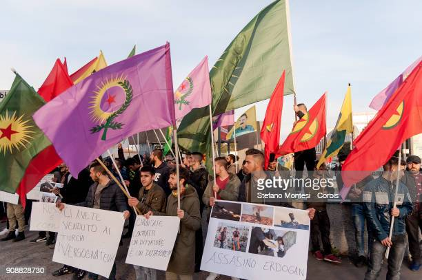Kurdish community protests near the Russian Embassy to denounce Russia's complicity with Turkey in the bombardments of the Turkey's military against...