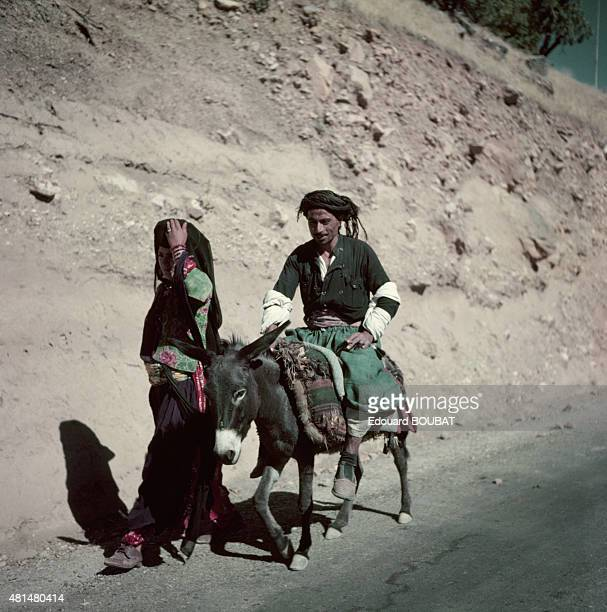 Kurdish couple on the road in March 1956 in Iraq
