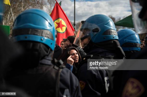 Kurdish demonstrators protest against the visit of Turkish president Recep Tayyip Erdogan on February 5 near the Vatican in Rome Italy