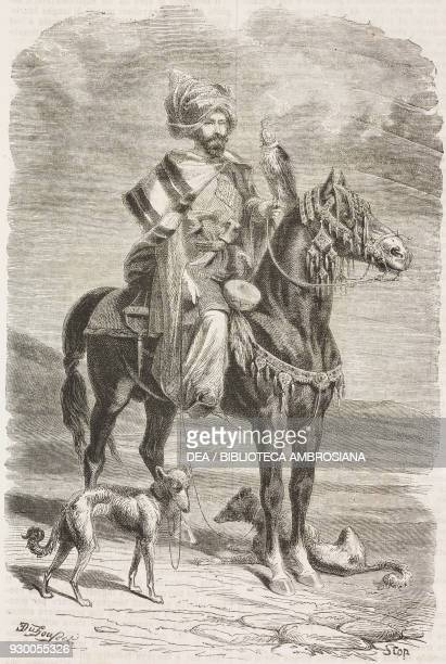 Kurdish falconer, Iran, drawing by Duhousset, from Hunting in Persia by Emile Duhousset , from Il Giro del mondo , Journal of geography, travel and...