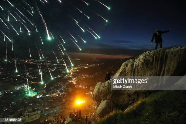 Kurdish families celebrate Nowruz Kurdish New Year in the mountainous area around on Akre on March 20 2019 in Iraq Nowruz marks the Persian New Year...