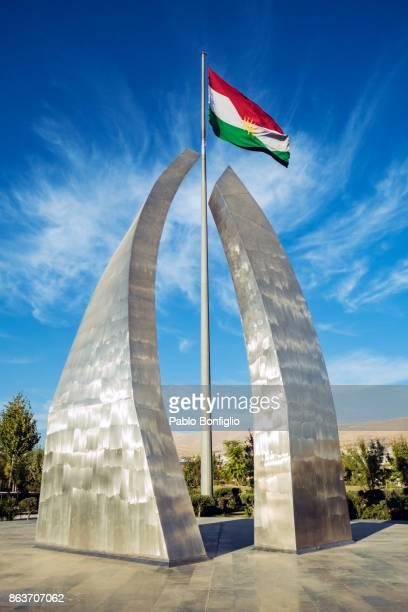 Kurdish flag in Azady Park in Sulaymaniyah, Iraqi Kurdistan