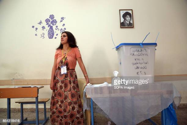 Kurdish girl inside one of the polls stations September 25 2017 is a historic day for Kurdish people around the world as many Kurdish took part in a...