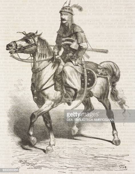 Kurdish horseman employed as an escort during the hunt Iran drawing by Duhousset from Hunting in Persia by Emile Duhousset from Il Giro del mondo...