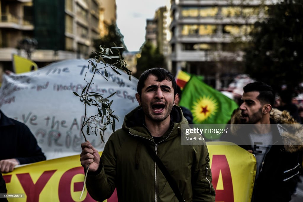 Kurds in Athens demonstrate in support of Afrin