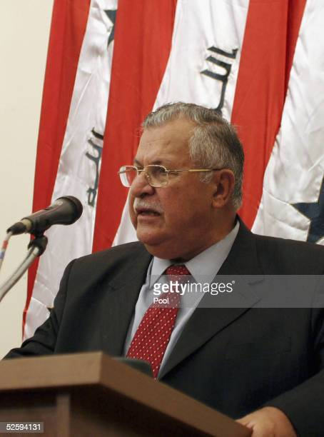 Kurdish leader Jalal Talabani delivers a speech after the National Assembly's meeting in which he was elected as the new President of Iraq on April 6...