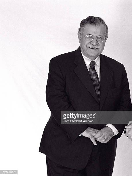 Kurdish leader Jalal Talabani poses on December 14 2002 in London Talabani was elected as the new President of Iraq on April 6 2005 in Baghdad Iraq