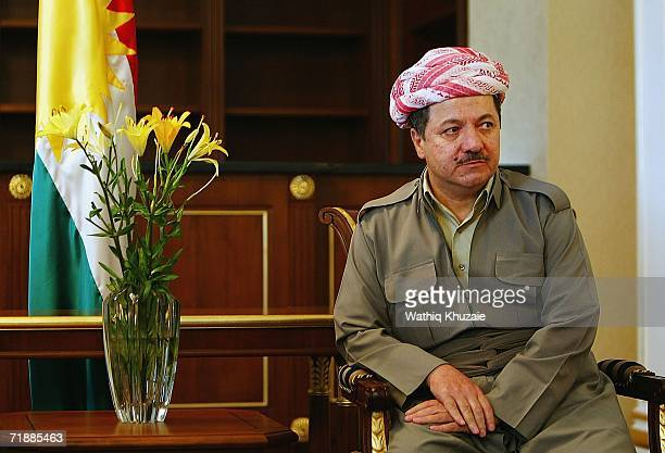 Kurdish leader Massoud Barzani looks on during a meeting with US Ambassador to Iraq Zalmay Khalilzad on September 13 2006 in Irbil 217 miles north of...