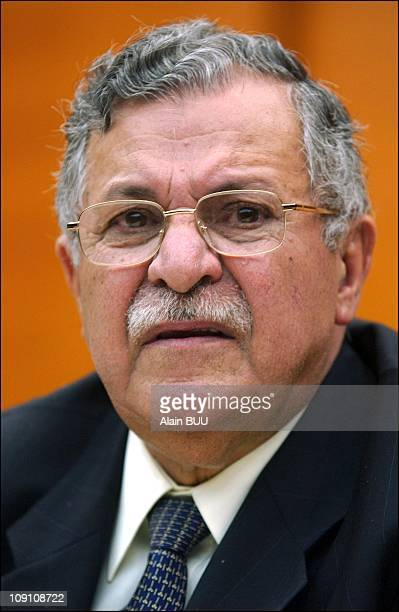 Kurdish Leaders Jalal Talabani And Massoud Barzani During A Conference In Paris On November 29Th 2002 Jalal Talabani Leader Of The Patriotic Union Of...