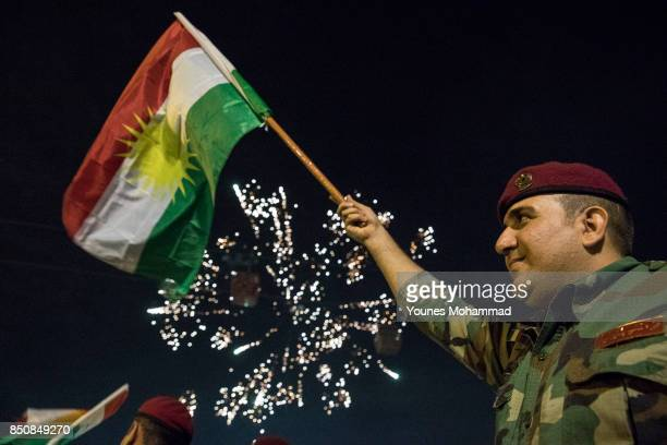 Kurdish people and Peshmargah show their support for the upcoming referendum for independence of Kurdistan in a gathering at Shanadar Referendum...
