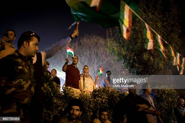 Kurdish people show their support for the upcoming referendum for independence of Kurdistan at a rally on September 21 2017 in Erbil Iraq The Kurdish...