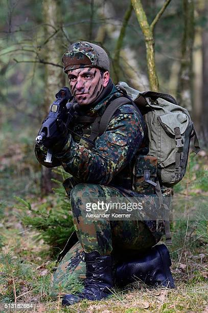 A kurdish peshmerga fighter is seen during a Bundeswehr training session on March 1 2016 in Munster Germany The Bundeswehr is supporting Kurdish...