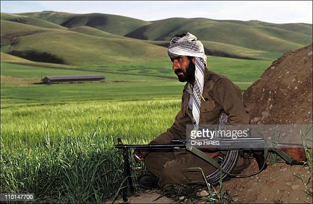 Kurdish Peshmerga guerillas at a checkpoint outside Zakho in camp of refugees and Kurdish rebels in Iraq on April 28 1991