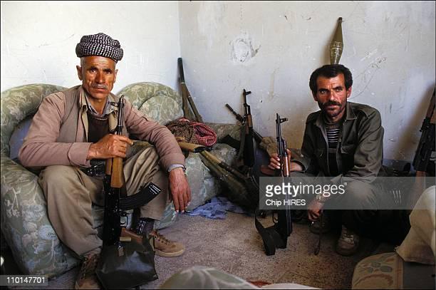 Kurdish Peshmerga guerillas at a checkpoint outside Zakho in , Iraq on April 28, 1991.