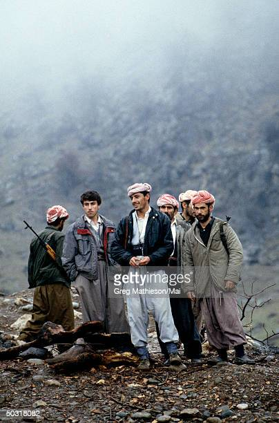 Kurdish peshmerga protecting a mountain top during the winter months in Kurdistan The Kurds are located within the northern area of Iraq protected in...