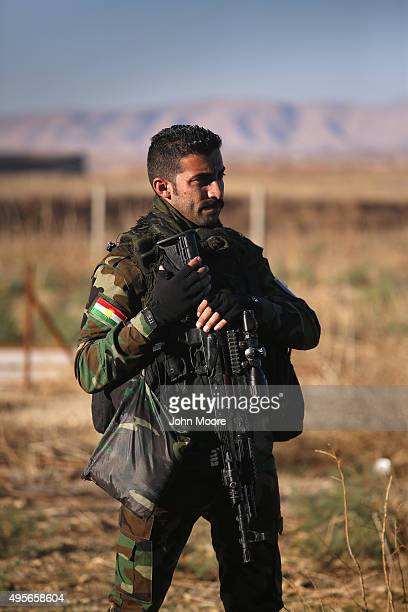 Kurdish Peshmerga soldier attends a battlefield first aid training session outside a military hospital on November 4 2015 near the frontline with...