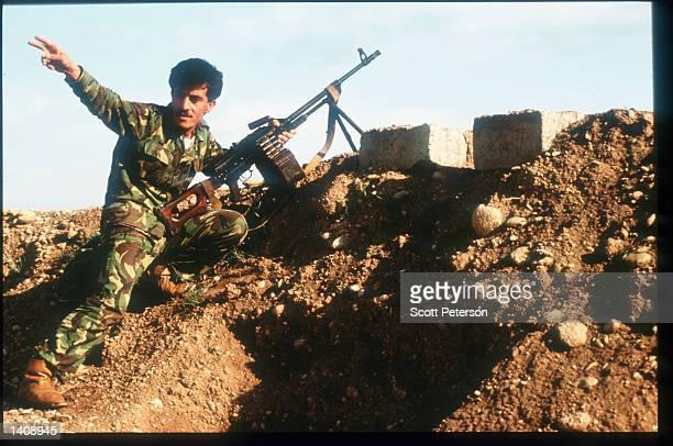 Kurdish Peshmerga soldier takes position at the PUK front line April 16, 1996 near Arbil, Iraq. Efforts by the Kurds to achieve autonomy or...